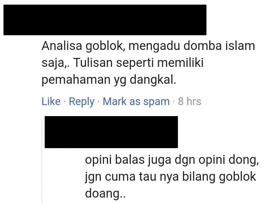 Menyerang pribadi, bukan pada argumentasi (Screen capture sesi komentar di salah satu artikel dalam FB Fanpage seword)