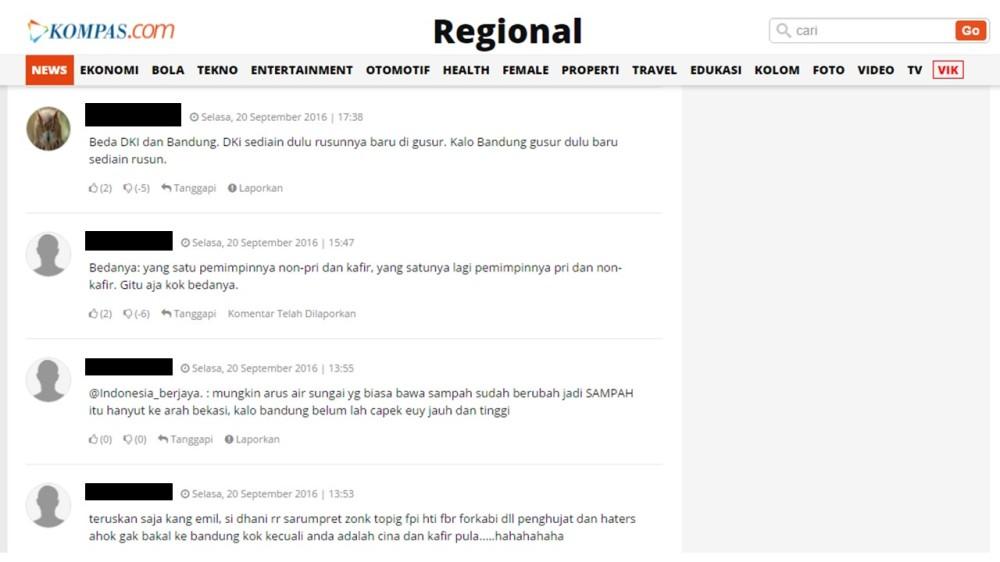 Ini adalah screen capture bagian komentar dari berita http://regional.kompas.com/read/2016/09/19/21121861/soal.penggusuran.ini.beda.jakarta.dengan.bandung.menurut.ridwan.kamil